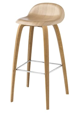 Barstol 3D Base/Wood Seat H:65