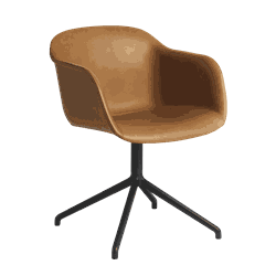 Fiber Armchair Svivl Base w/leather